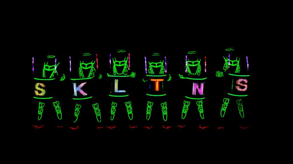 led glowing drummers